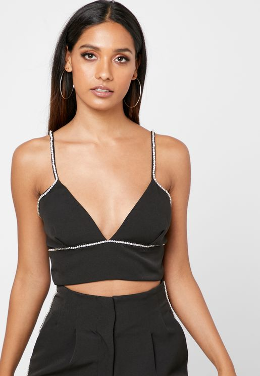 Plunge Neck Crop Top