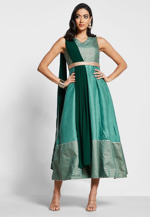 Green Printed Belted Maxi Tunic with Attached Dupatta