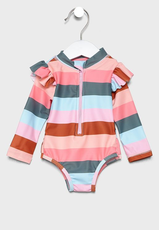 Infant Color Striped Swimsuit