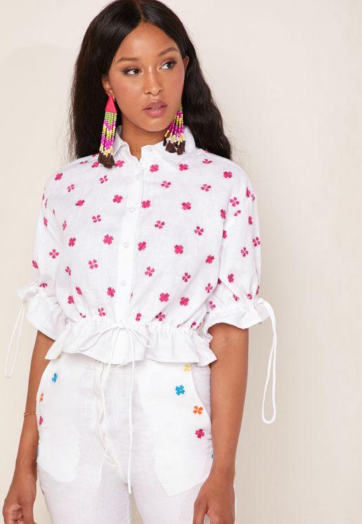Mimi Embroidered Crop Drawstring Shirt