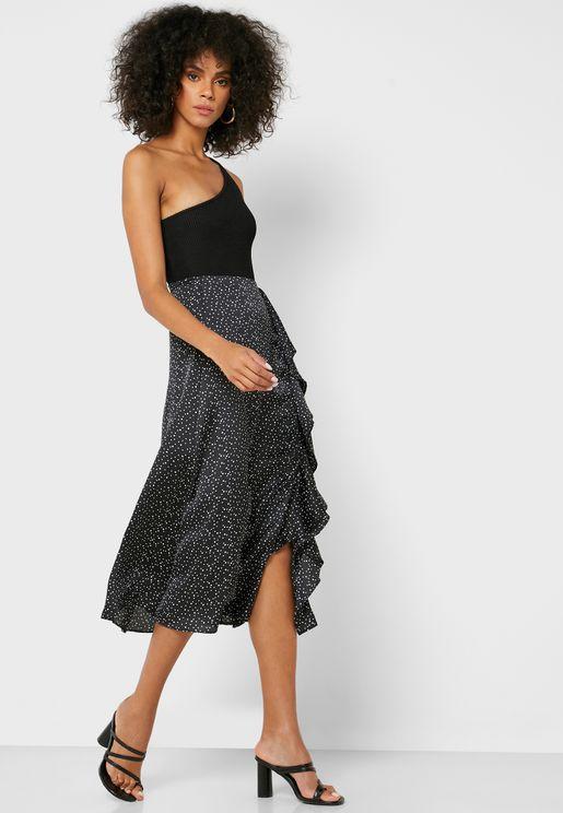 Ruffle Trim Side Slit Printed Skirt