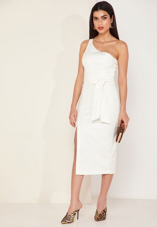 Francis One Shoulder Front Split Dress
