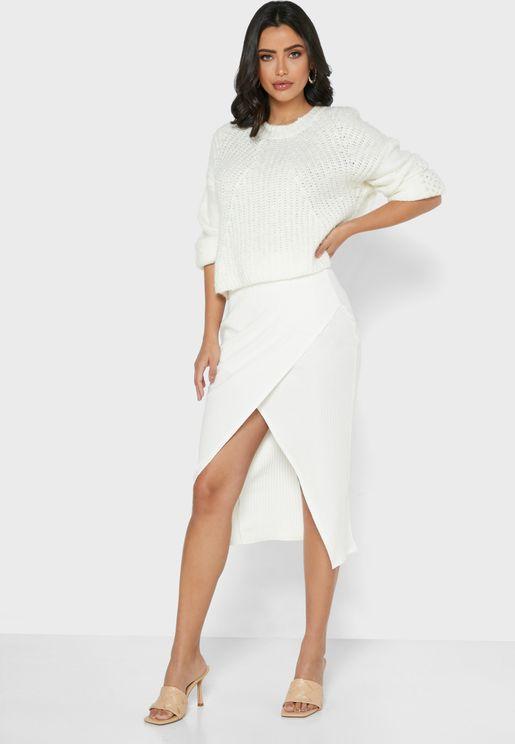 Wrap Front Midi Skirt