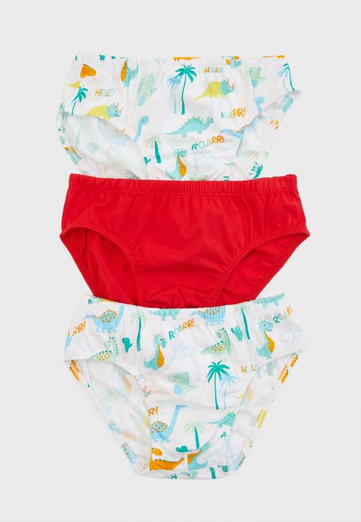 Kids 3 Pack Printed Brief