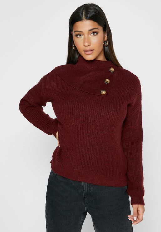 Button Detail High Neck Ribbed Sweater
