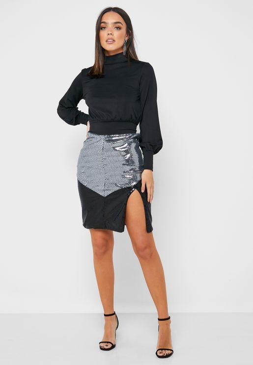 Colorblock Side Split Sequin Skirt