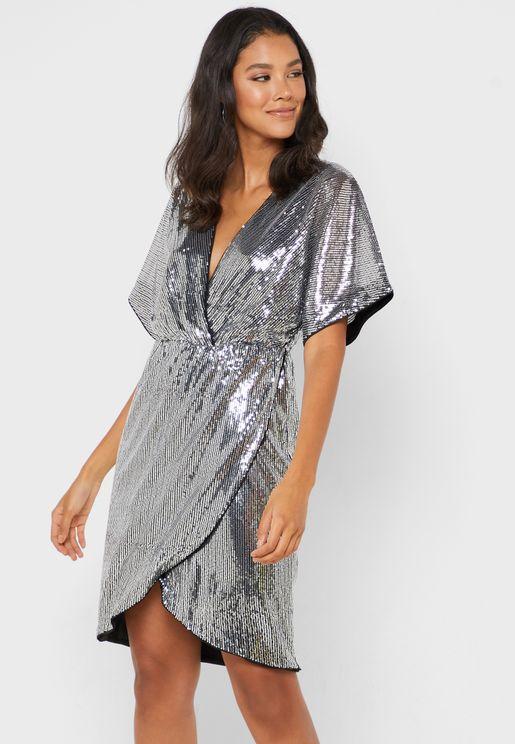 Shimmer Wrap Dress