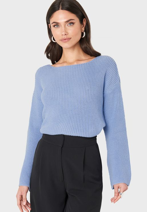 Wide Sleeve Knitted Sweater