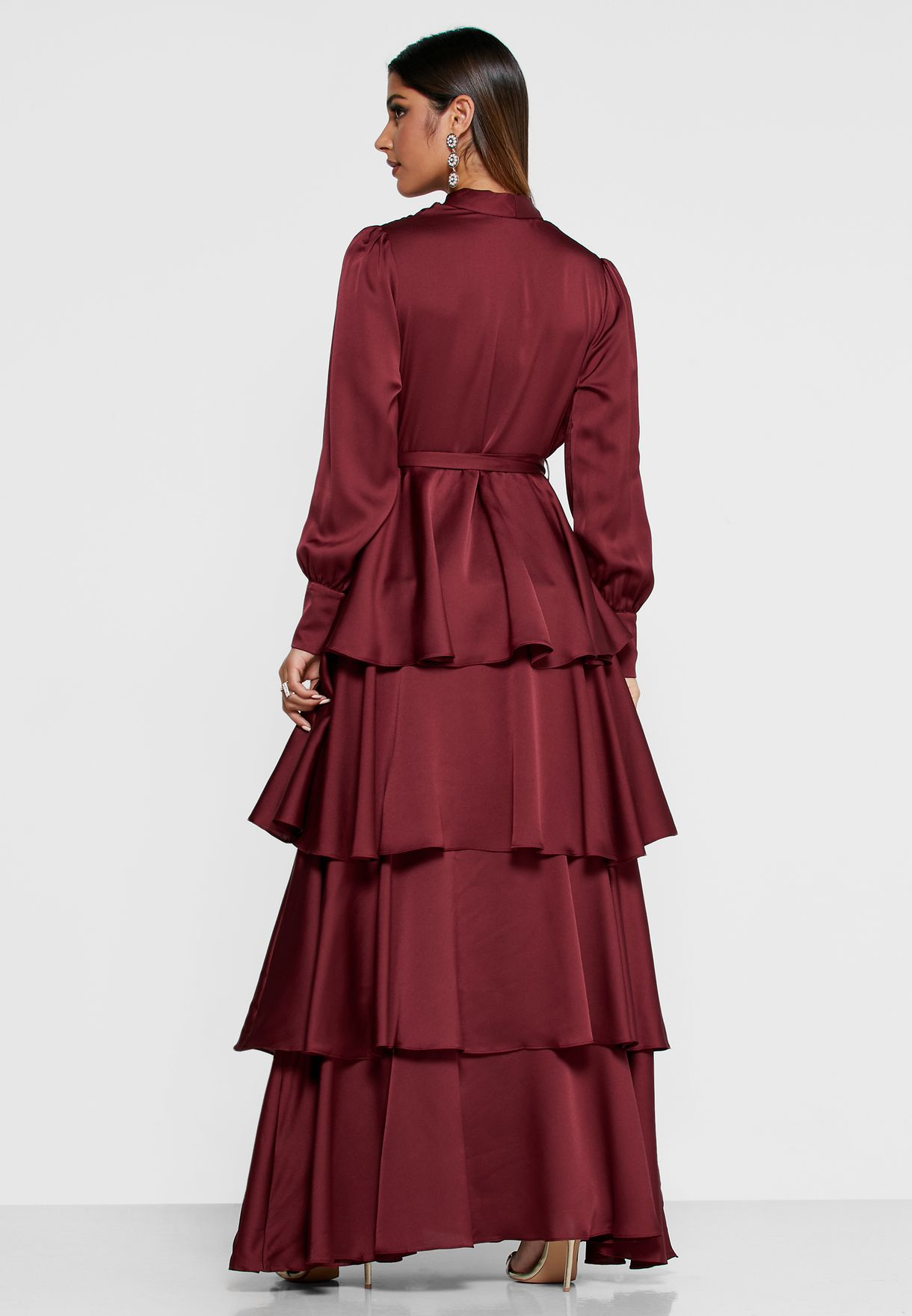 Satin Wrap Front Tiered Maxi Dress