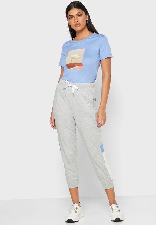 Colorblock Cuffed Sweatpants