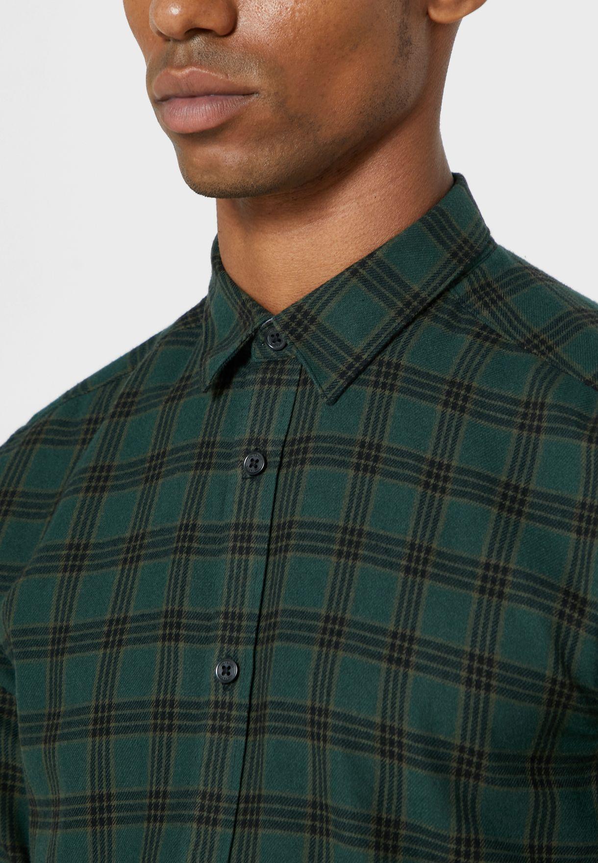 قميص مربعات بياقة كلاسيكية