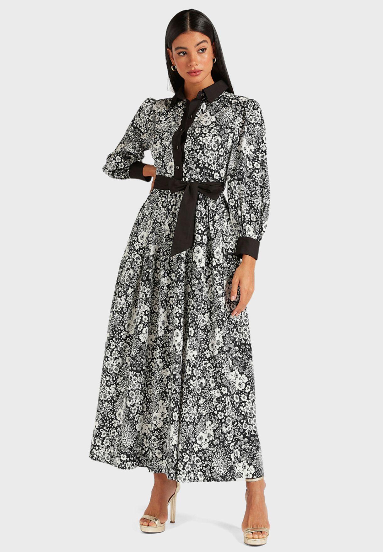 فستان بطباعة زهور واربطة