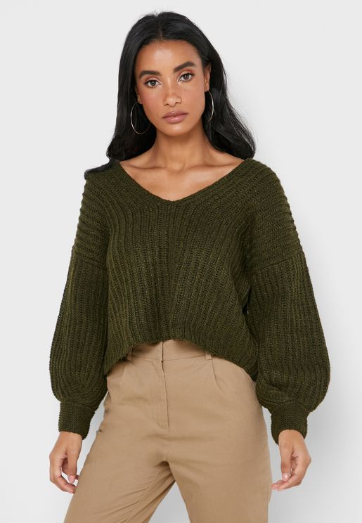V-Neck Puffed Sleeve Sweater