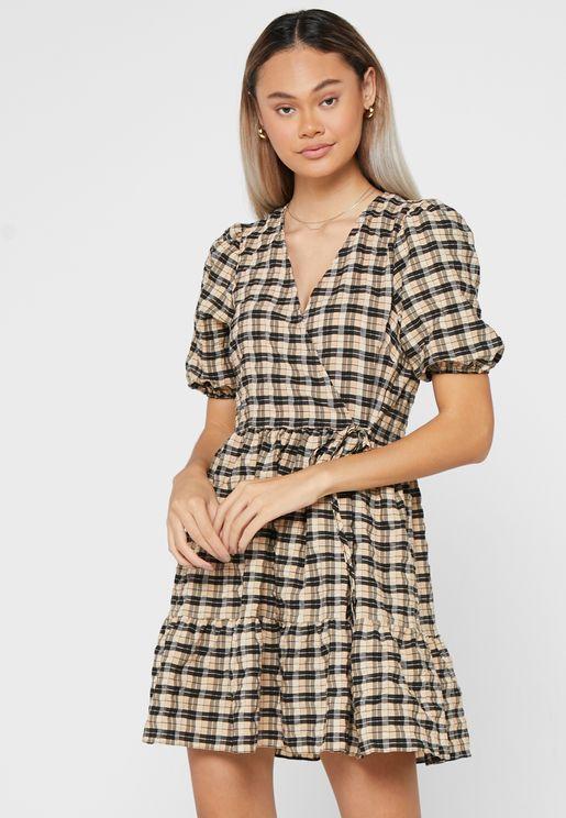 Checked Wrap Dress