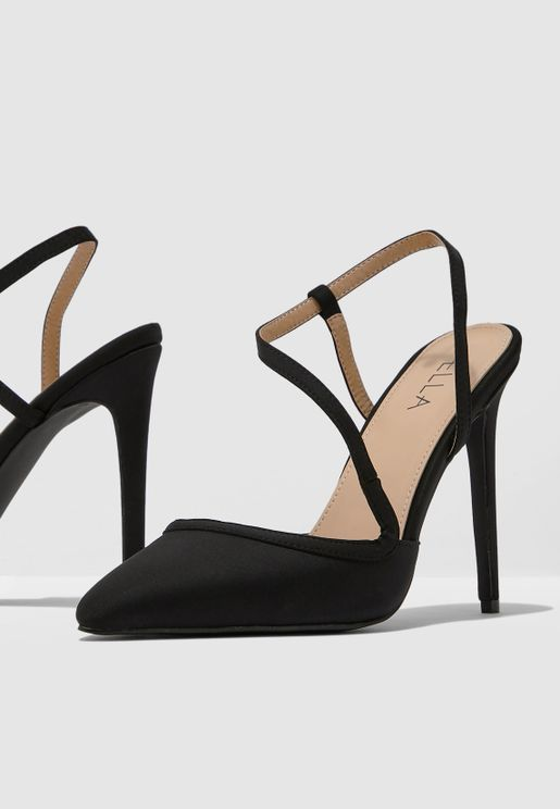 Pointed Toe Court Shoe With Strap Detail