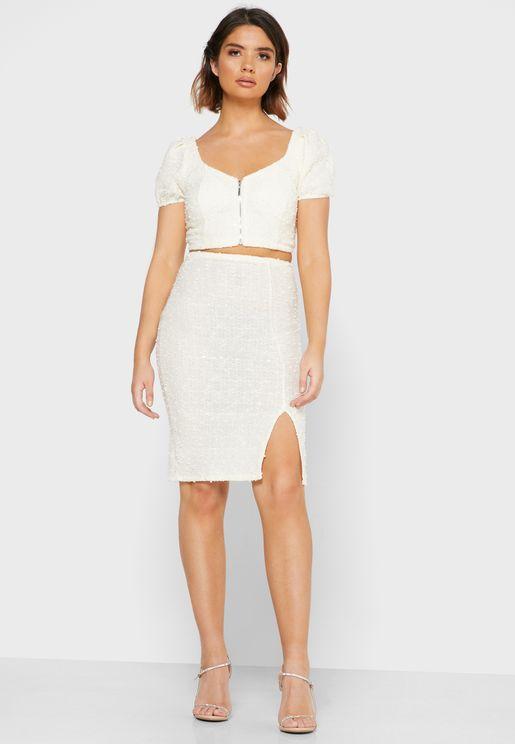 Textured Crop Top Mini Skirt Set
