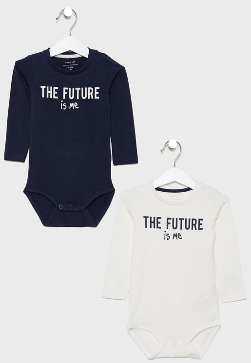 Infant 2 Pack Slogan Bodysuit