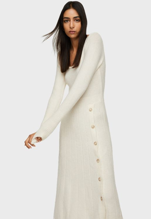 Square Neck Knitted Dress