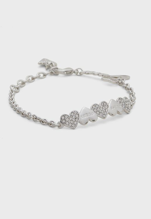 Pave And Plain Heart Row Bracelet