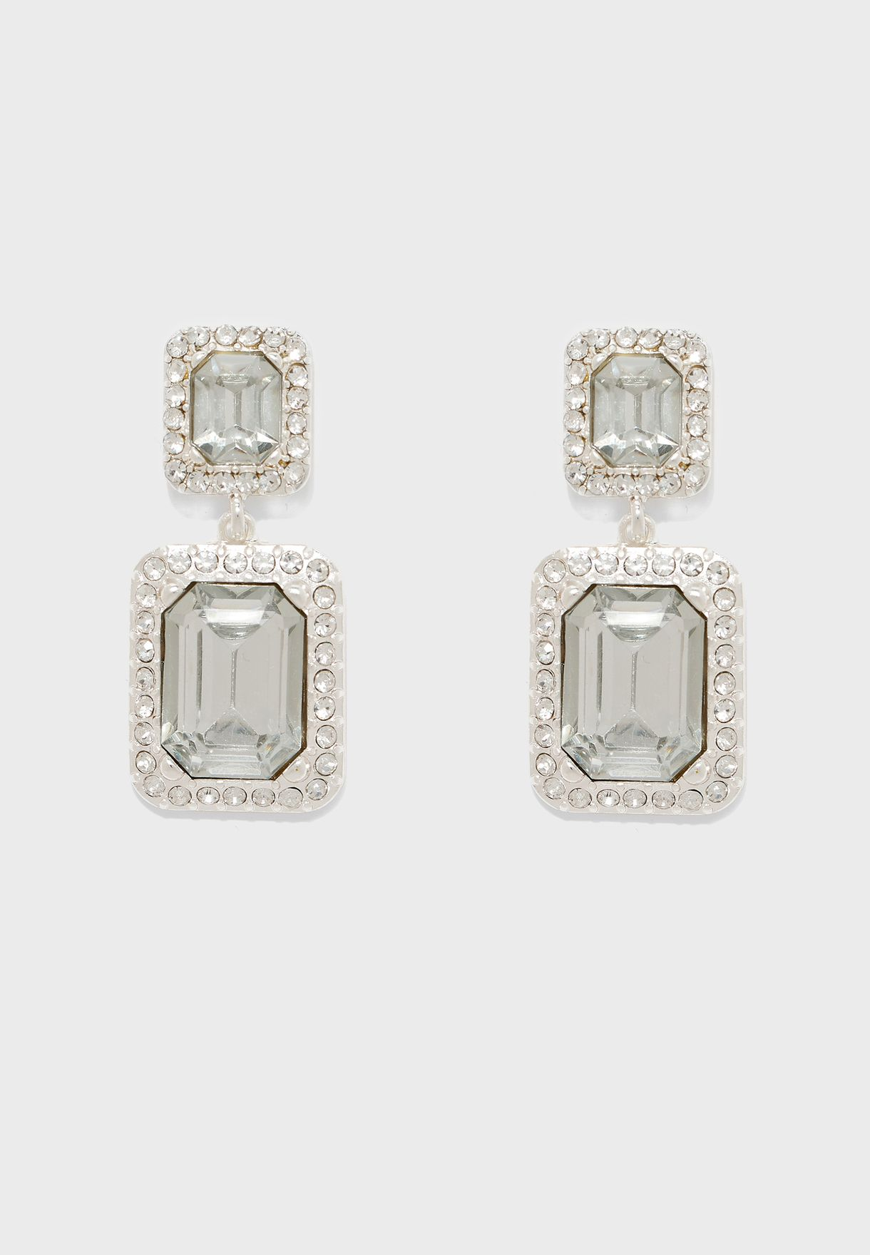 Stone Drop Earrings With Diamante Trim