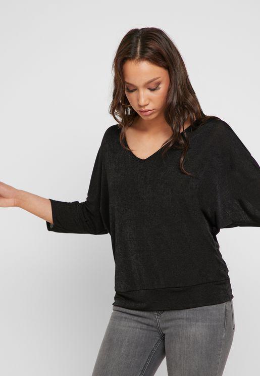 Split Sleeve V-Neck Top