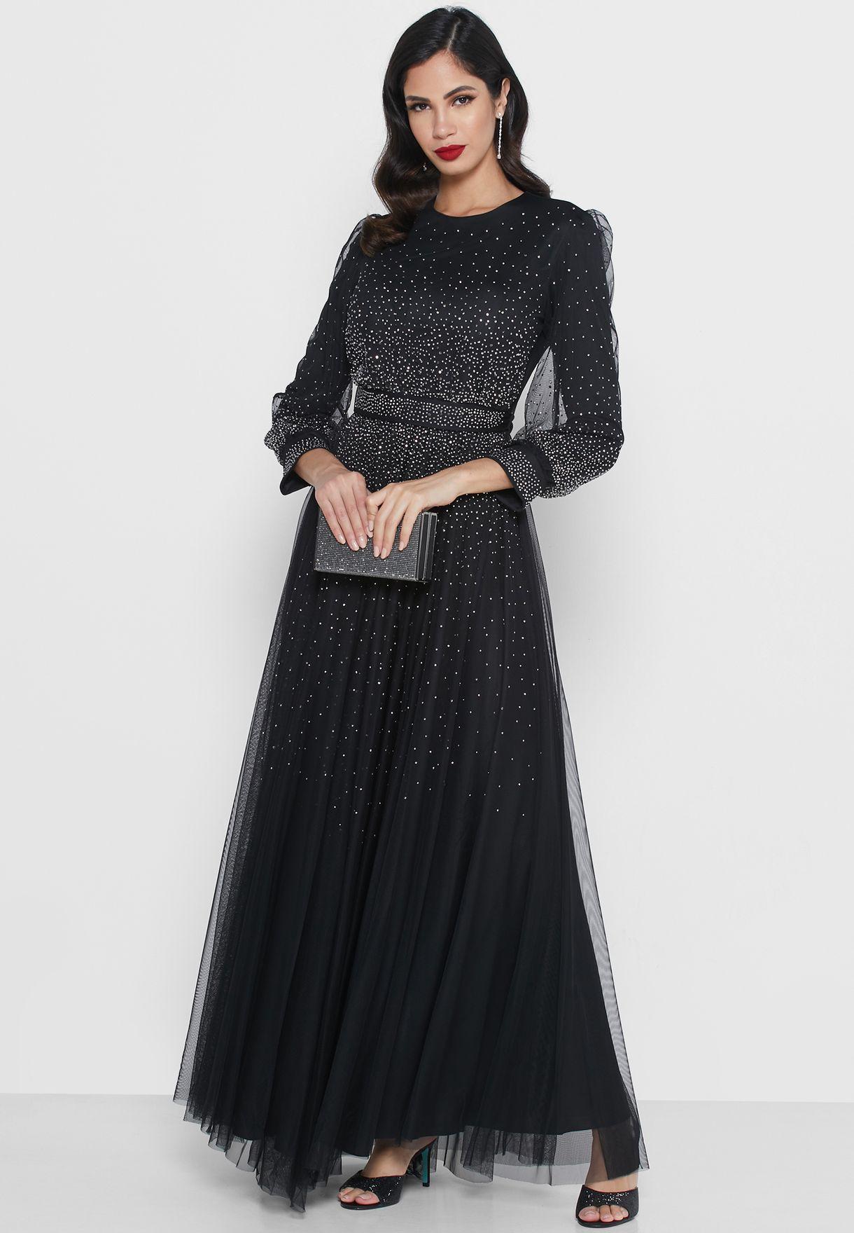 فستان ماكسي بطبقة شبك