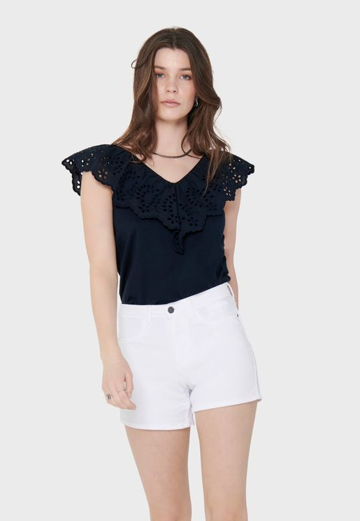 Ruffle Detail V-Neck Top