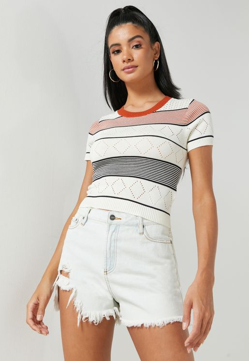 Jasper Stripped Colour Block Top