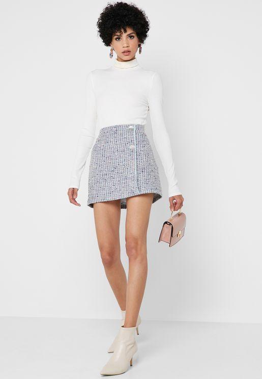 8cabfea314d Buckle Detail Boucle Skirt