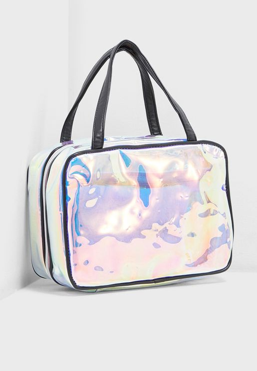 Holographic Fold Out Cosmetic Bag