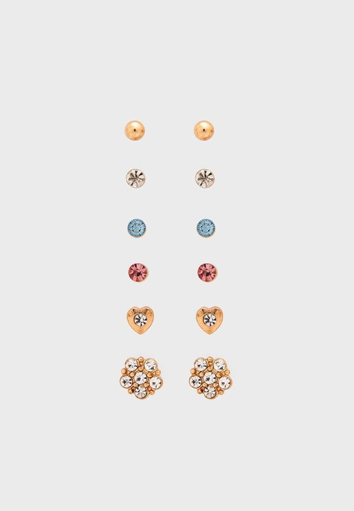 Multipack Otp Pastel Stone Stud Earrings