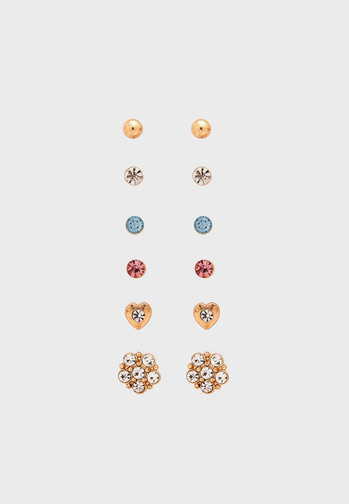Multipack Otp Pastel Stone Stud Earrings