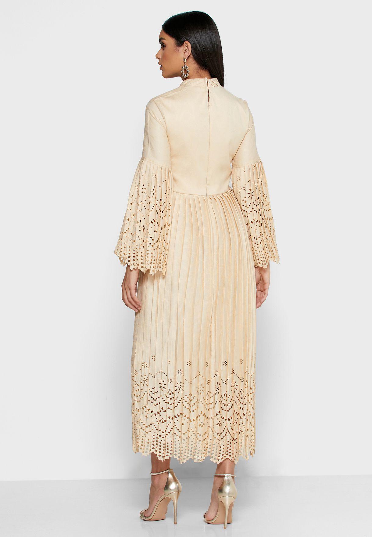 Pleated Laser Hem Dress