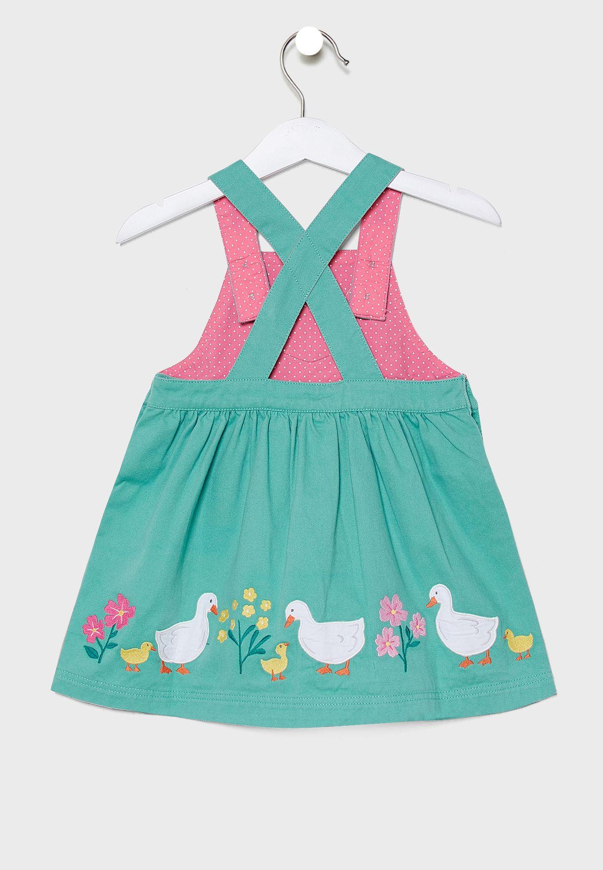 Kids Applique Pinafore Dress