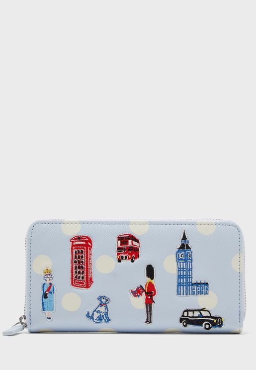 London Applique Continental Purse