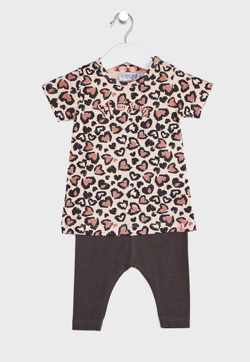 Infant Leopard Printed Dress + Leggings Set