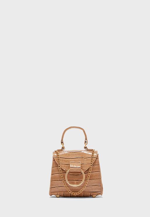 Mini Satchel Bag In Mock Croc