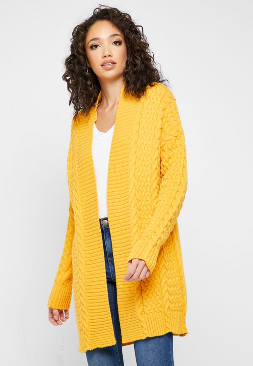 Longline Cable Knit Cardigan