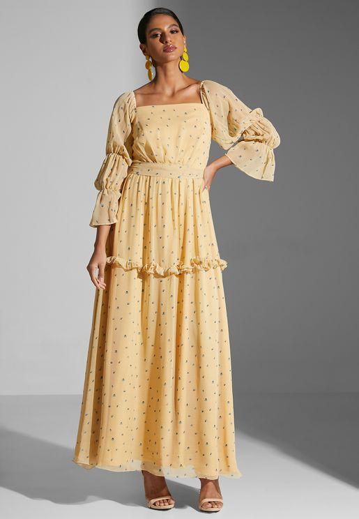 Broad Neck Floral Print Dress