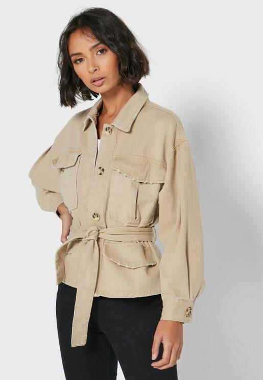 Tie Waist Button Through Jacket