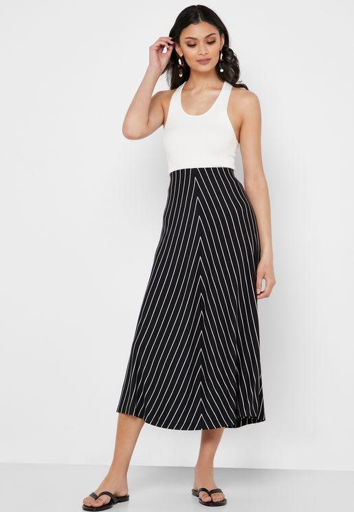 2f7b0d839 High Waist Striped Skirt