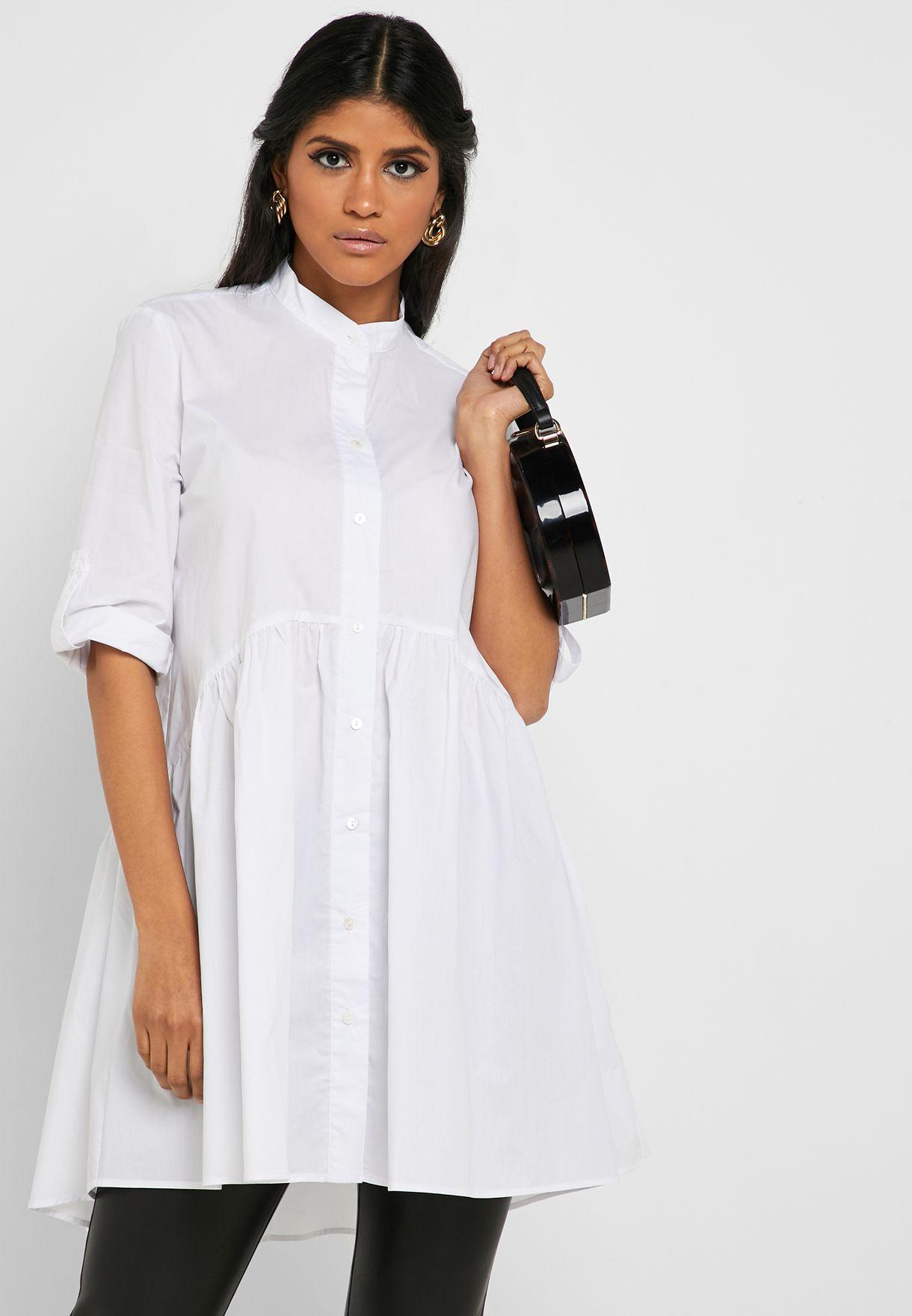 506838254e4 Shop Ella white High Neck Detail Hem Tunic Shirt X890 for Women in Oman -  13288AT03RPP