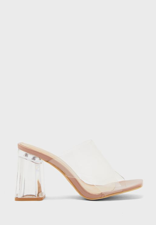 Wide Fit Clear Vinyl Mules