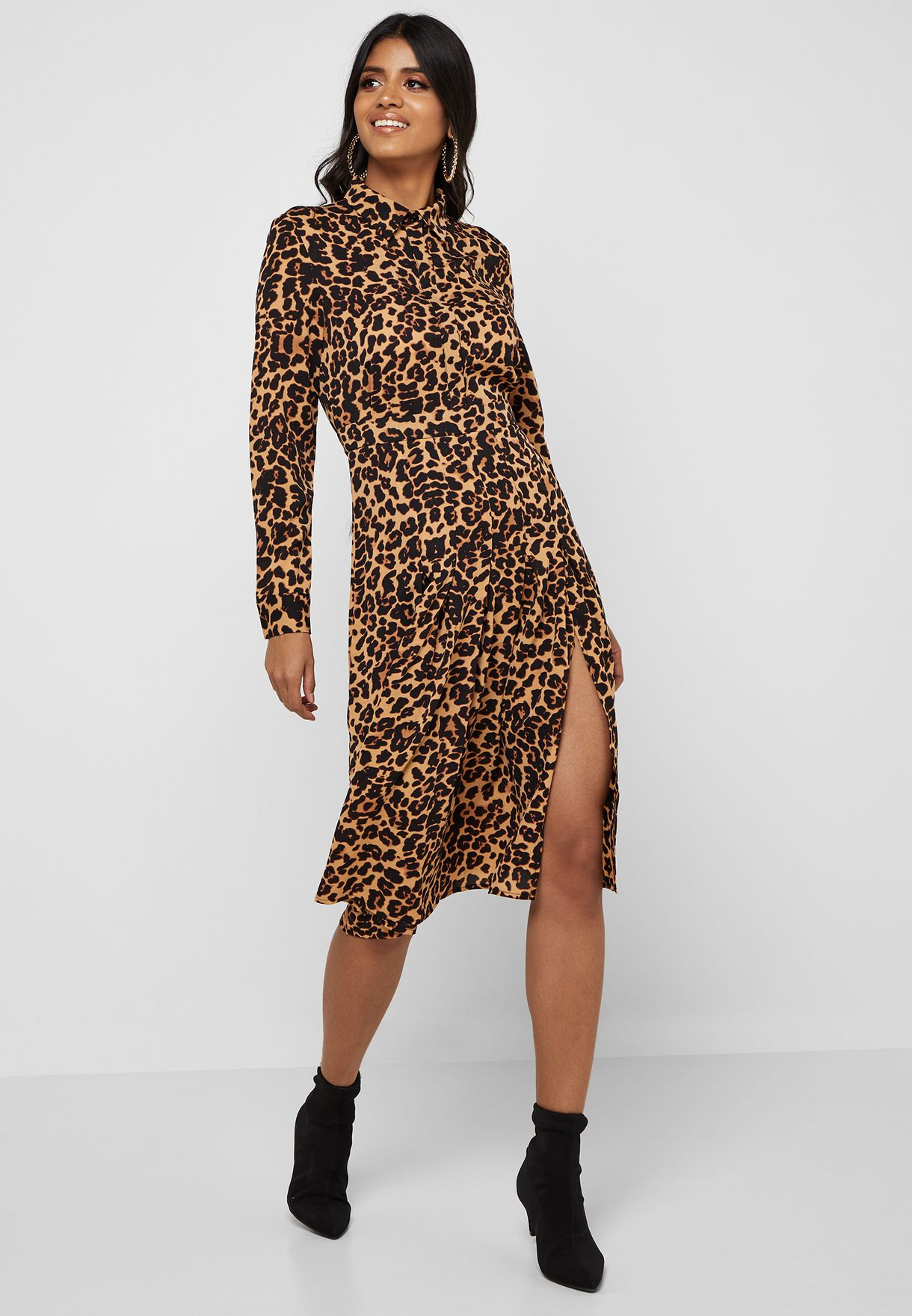 a4c8ad2de090 Shop Missguided prints Side Split Leopard Print Shirt Dress DD918040 ...