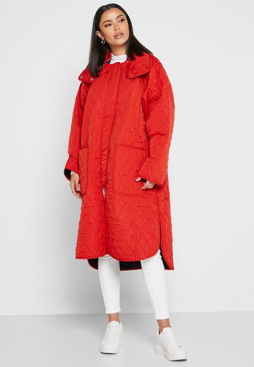 معطف طويل بياقة عالية
