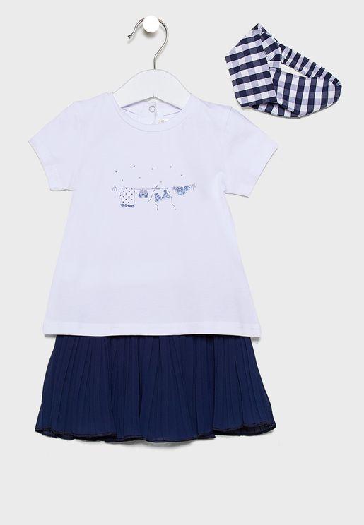 Infant 2 Piece Dress + Headband Set