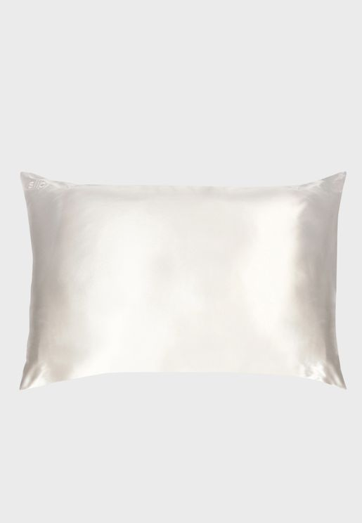 Queen Size Silk Pillow Case - White
