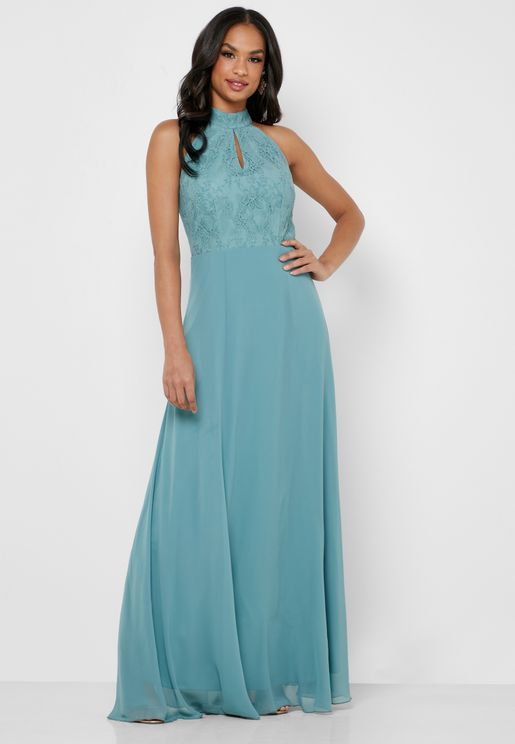 Lace Top Keyhole Maxi Dress