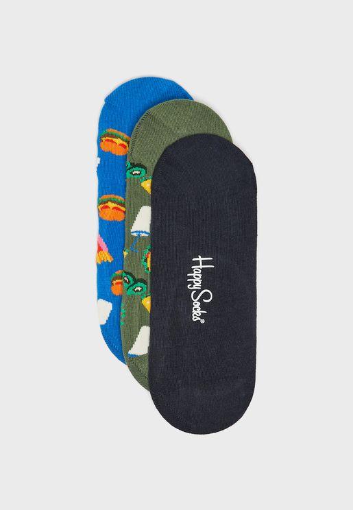 3 Pack Hamburger Liner Socks