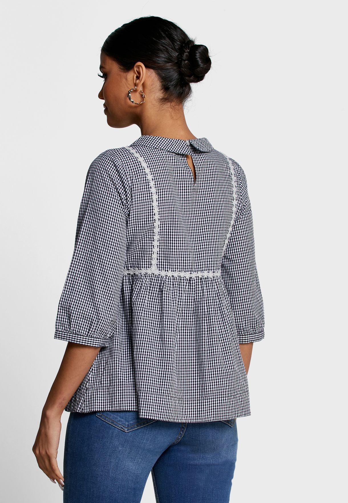 Collar Detail Gingham Top